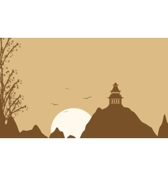 Silhouette of pavilion on brown backgrounds vector