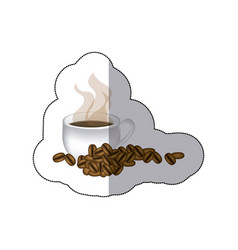 Sticker coffee cup with grains of coffee vector