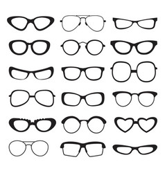 sunglasses silhouette of different types and sizes vector image