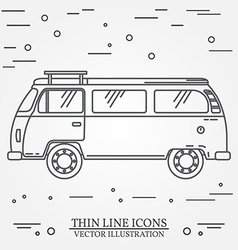 Travel bus family camper thin line Traveler truck vector image