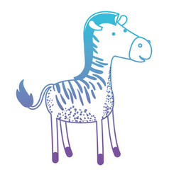 Zebra cartoon in degraded blue to purple color vector
