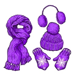 Set of purple knotted scarf hat ear muffs and vector