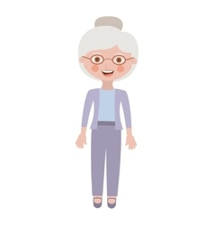 Elderly woman with pants an jacket vector