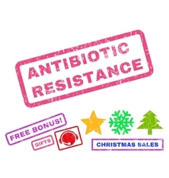 Antibiotic resistance rubber stamp vector