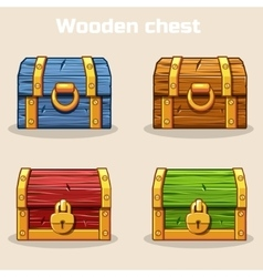 Closed colored wooden treasure chest vector image