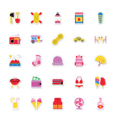 summer and holidays icons 17 vector image