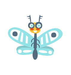 Funny cartoon flying fly insect colorful vector