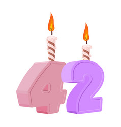 42 years birthday number with festive candle for vector image