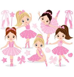 Set with cute little ballerinas vector