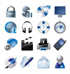 blue website and internet icons vector image