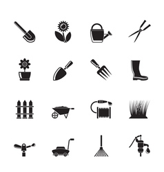 Silhouette garden and gardening tools and objects vector