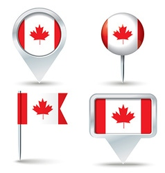 Map pins with flag of canada vector