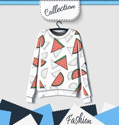 Design sweatshirt with prints of watermelons vector