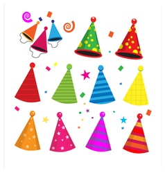 Colorful birthday party hats celebration vector