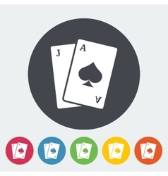Blackjack single flat vector