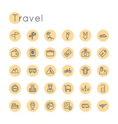 Round travel icons vector