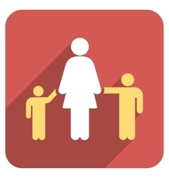 Mother and children flat rounded square icon with vector