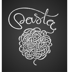 Pasta word and spaghetti snarl drawn on vector
