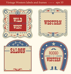 Western labels symbols and boards isolated on vector