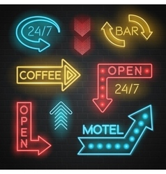 Motel and bar neon arrows set vector