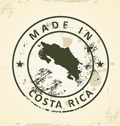 Stamp with map of Costa Rica vector image