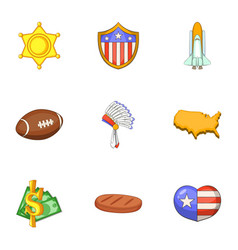 american things icons set cartoon style vector image vector image