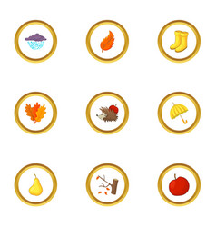 autumn time icons set cartoon style vector image vector image