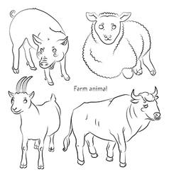 bull goat pig sheep vector image vector image