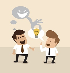Businessman is stealing idea from another man vector image vector image