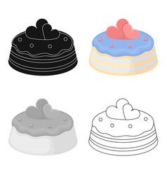 cake with hearts icon in cartoon style isolated on vector image vector image