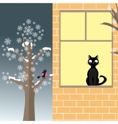 Cat and bird in winter vector image vector image