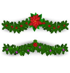 Christmas border decoration set vector