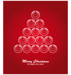 Christmas card with white tree and balls on red vector