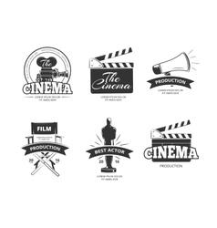 Cinema vintage labels emblems badges set vector