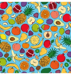 Colored fruits doodle seamless vector