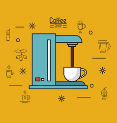 Colorful poster of coffee shop with coffee maker vector