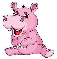 Cute hippo cartoon sitting vector