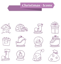 Element christmas icons set vector