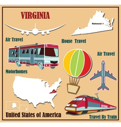 Flat map of Virginia vector image