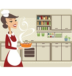 Girl baking pie vector