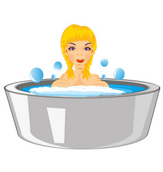 Girl bathes in basin vector