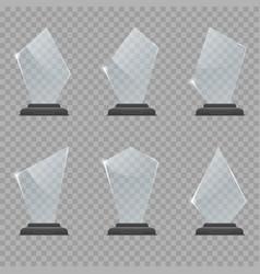 Glass trophy award set vector