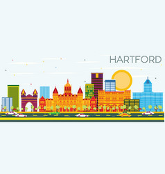 Hartford skyline with color buildings and blue sky vector