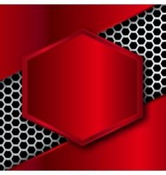 Hi-Tech Metallic Background with hexagonal frame vector image
