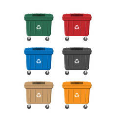 Huge waste trash can isolated on white vector