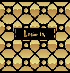 Invitation card with gold heart vector