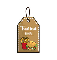 Label fast food french fries and burger icon vector