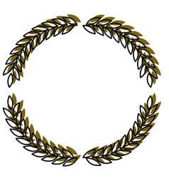Olive branches forming circle in green watercolor vector