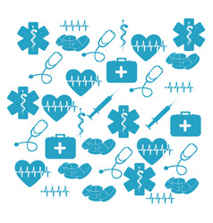 Pattern blue silhouette health symbol and star of vector