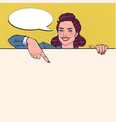 pop art business woman pointing on blank billboard vector image